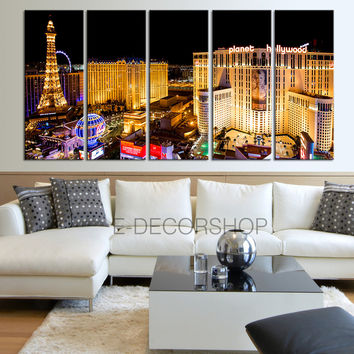 Large Wall Art Canvas Print Las Vegas City Night Skyline - Vegas Large Canvas Art Print - Large Wall Art Canvas