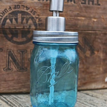 blue mason jar soap dispenser galvanized mason jar lid bathroom decor