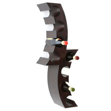 Modern 8-Bottle Wall Mounted Wine Rack in Hand Painted Dark Wood Finish