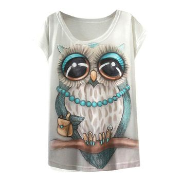 Cute Owl All Over Print Loose Flowy T-Shirts