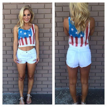 Star Spangled Lace Crop Top