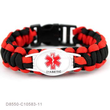 (10 PCS/lot)Diabetic Medical Alert  Paracord Survival Gifts for Diabetic Type 1&2 Friendship Womens Girls Ladies Bracelets