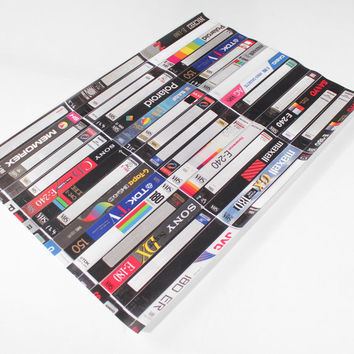 80s Retro VHS Cassette Wrapping Paper (2 Sheets)