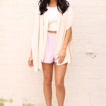 Split Sleeve Blazer Cape in Cream