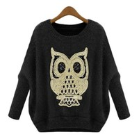 Women's Hot Round Neck Owl Paillette Knitwear Jumper Sweater (Black)