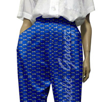 African Print Pants - 100% Cotton Fabric - High Waist and Side Pockets - Fall Collection - Chokoto Trousers in Ankara Wax - Made in USA