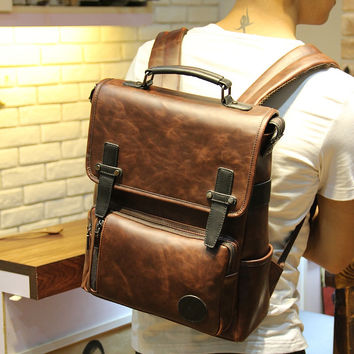 Men's 14 Inch Laptop Bag Leather Travel Backpack Rucksack
