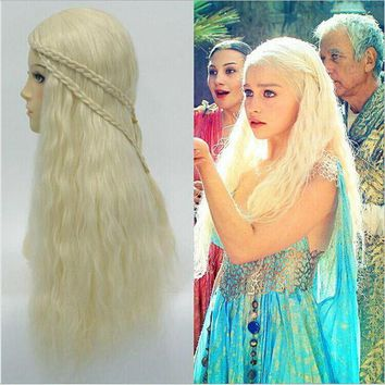 ac DCCKO2Q TV Game of Thrones Season 7 Daenerys Targaryen Cosplay Wig For Women Halloween Play Wig Party Stage Hair 2017 New High quality