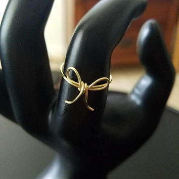 Dainty bow wire ring Gold or Rose Gold Tie the knot ring  bridesmaid ring tarnish resistant wire finger ring minimalist jewelry