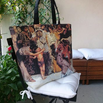 "Large tote bag canvas, beautiful copy from ""A dedication to Bacchus"",  Sir Lawrence Alma Tadema, handmade in France"