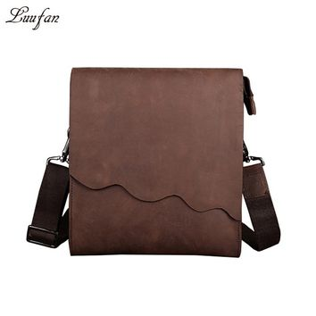 Men's genuine leather messenger bag iPad double layer real leather shoulder bag vintage cow leather crossbody bag for magazine