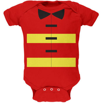 Halloween Fireman Costume Red Soft Baby One Piece