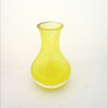 Vintage Caithness Glass Vase, Yellow Crackle Glass Vase, Vintage But Vase in Yellow