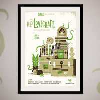 HP Lovecraft Literary Popcast  limited edition by ArmyOfCatsPrints