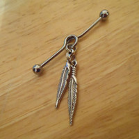 Industrial Barbell - Silver Double Feather Industrial Barbell - Industrial Piercing