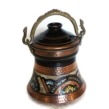Bucket etched vintage Erzincan COPPER brass bail handle, hand PAINTED floral etching pail Anatolian city souvenir, jam jar, metal crafts pot