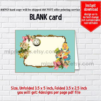 Instant Download, blank Card, Alice in wonderland #1116, food tent Card, place card, 3.5x2.5inch printable , non-editable NOT CUSTOMIZABLE