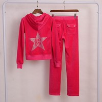 Juicy Couture Star Juicy Icon Velour Tracksuit 2pcs Women Suits Red