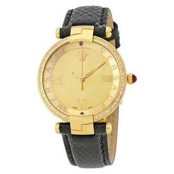 Versace Revive Gold Mirror Dial Leather Ladies Watch VAI210016