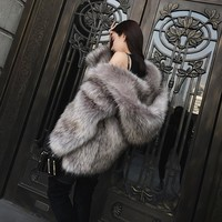 Casual furry faux fur fox coats women Fake fur coat female coat 2018 winter clothing colored fur warm overcoat
