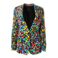 Marc by Marc Jacobs Womens Silk Printed One-Button Blazer
