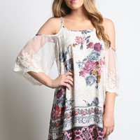 Umgee Floral Print Cold Shoulder Dress