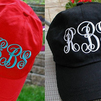Monogrammed Baseball Cap in Bright Colors for All Ages, One Size Fits Most