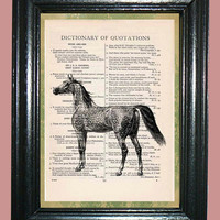 Arabian Horse Quotation Dictionary Book Page Art Print Beautiful Upcycled Page Art Home Decor Collage Art Print