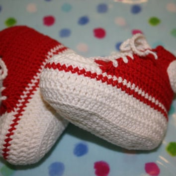 Crochet baby booties high tops sneakers crochetyknitsnbits red cream hand made baby boy girl clothes Bamboo baby shower gift 3 to 9 months