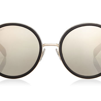 Jimmy Choo Andie Black Acetate Round Framed with Grey Silver Crystal Fabric Detailing Sunglasses