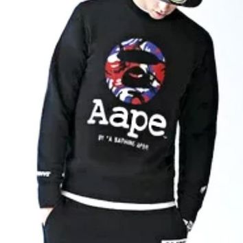 Bape Aape Autumn And Winter New Fashion Bust Camouflage Letter Print Long Sleeve Sweater Top Black