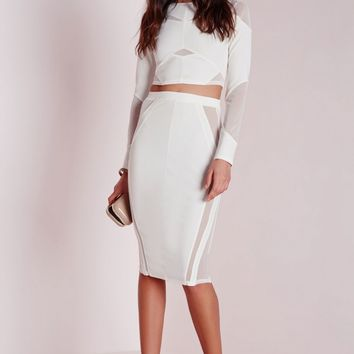 Missguided - Mesh Panelled Long Sleeve Crop Top White