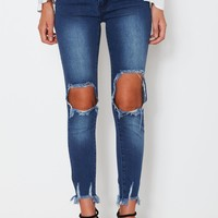 Frayed Jeans Blue Denim