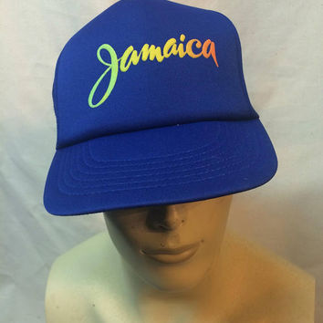 ORIGINAL Vintage 1970s 1980s Rainbow Jamaica  flat bill trucker mens hat cap