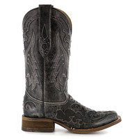 Corral Women's Square Toe Black Snake Inlay Western Boots