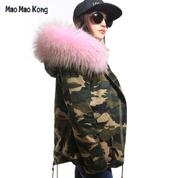 plus size 2016 New army green Camouflage winter jacket women thick parkas big raccoon natural real fur collar coat hooded