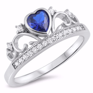 Sterling Silver CZ Simulated Blue Sapphire Simulated Diamond Heart Crown Tiara Ring