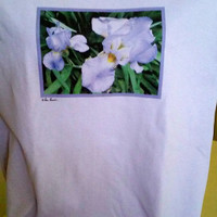 PHOTO GIFT Mom, Purple Iris Tshirt, Custom Cotton Crewneck Style, Original Design; choice of 3 colors