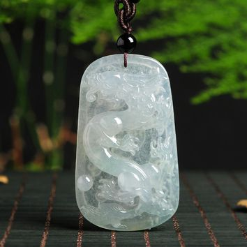 TJP Natural Emerald Dragon Jade Pendant