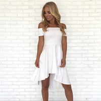Swept Away Off Shoulder Dress In White