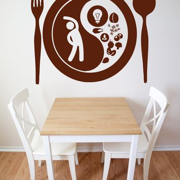 Vinyl Decal Fork Spoon Plate Food Taste Appetites Wall Sticker (n564)