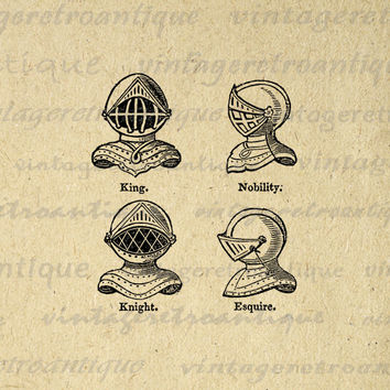 Digital Image Knight Helmets Download Medieval Armor Printable Graphic Antique Clip Art for Transfers etc HQ 300dpi No.675