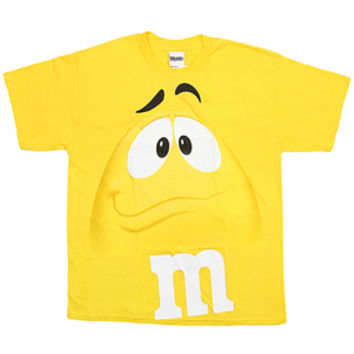 M&M's Candy Character Face T-Shirt - Adult - Yellow - Large