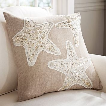 SEQUIN COASTAL STARFISH EMBROIDERED PILLOW COVERS