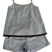 French Cotton Camisole and Shorts Set / Pajamas Stormy With Black Dots