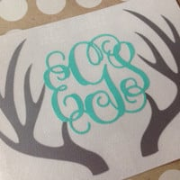 Deer Antler Monogram |  Antler Monogram Decal | Browning Decal | Browning Car Decal |  Monogrammed Deer Antlera | Personalized Deer Antlers