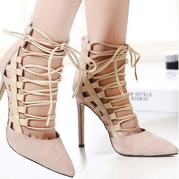 Hot style suede pointed strap sandals shoes