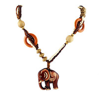 Boho Ethnic Long Hand Made Bead Wood Elephant Pendant