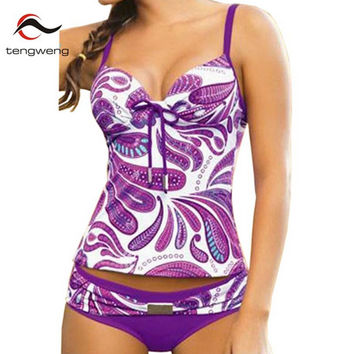 Tankini 2017 New Summer Women Push Up Two-piece Swimsuit Purple Floral Print Plus Size Swimwear Bathing Suit Bikinis S-5XL Sport