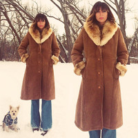 Vtg 60's 70's Penny Lane SHEARLING Sheepskin Leather Shearling Coat | Polish Collar And Cuffs || Warm Hippie Boho Princess Coat || Size M